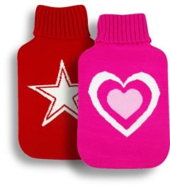 [6] FINESSE HOT WATER BOTTLE - MOTIF KNITTED COVERED