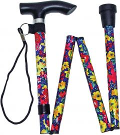 [3] LIFE HEALTHCARE WALKING STICK FOLDING/ADJUSTABLE- FLORAL