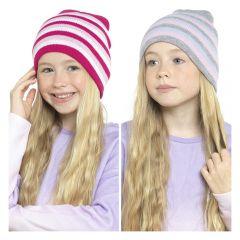GIRLS STRIPED BEANIE HAT