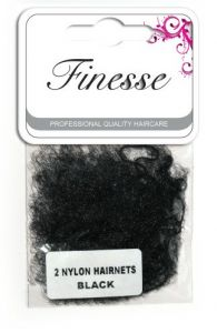 **ETA JULY**  [6] FINESSE HAIRNETS - BLACK 2PK