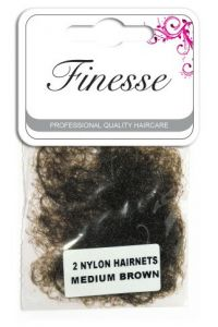 FINESSE HAIRNETS MEDIUM BROWN 2PK