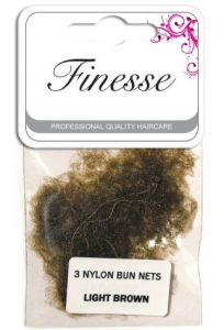 FINESSE BUN NETS - LIGHT BROWN 3PK