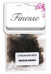 FINESSE BUN NETS - MEDIUM BROWN 3PK