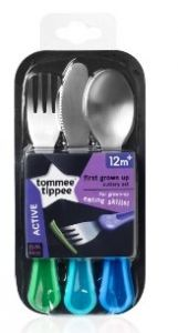 [6] TOMMEE TIPPEE  FIRST GROWN UP CUTLERY SET 12 MONTHS+
