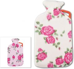 Life Hot Water Bottle - 2L With Handle - And FloraL Fleece Cover