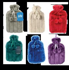 Life Hot Water Bottle + Fur Cover + Pom-Poms