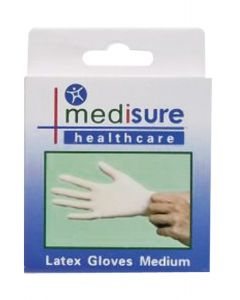Medisure Gloves Latex Exam Medium - 10 Pcs