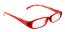 BETA VIEW READING GLASSES- RED & WHITE DOTS 1.50 (D)