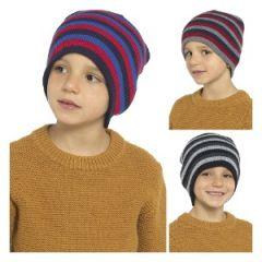 KIDS STRIPED BEANIE HAT
