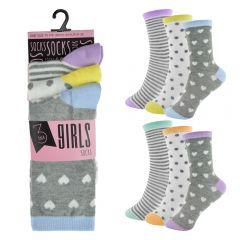 GIRLS 3 PACK DESIGN SOCKS