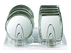 HAND/STANDING MIRROR IN CLEAR ACRYLIC, NORMAL + 5X MAGNIFICATION