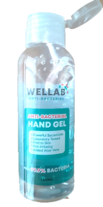 WELLAB ANTI-BAC HAND GEL 100ML, 75% ALCOHOL, UK BRAND
