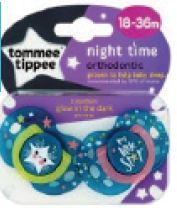 *NEW* TOMMEE TIPPEE SOOTHERS - NIGHT TIME 18-36M X2