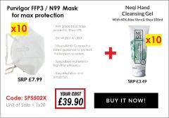 PURVIGOR N99 FACE MASK + NEQI 100ML SANITISER FREE!