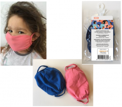 Re-usable, washable face mask for kids - blue & pink