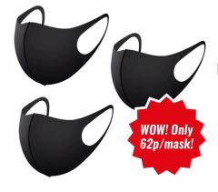 POLYESTER/ SPANDEX MASKS, 3-PACK, BLACK