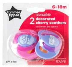 [4] TOMMEE TIPPEE ESSENTIALS DECORATED CHERRY SOOTHERS 6-18M
