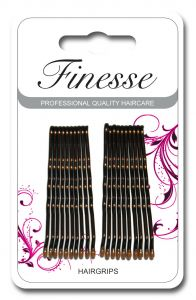 [6] FINESSE HAIRGRIPS - LONG BROWN