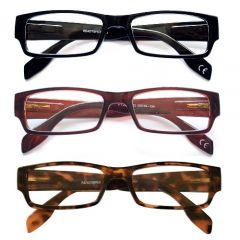 **DISCONTINUED** READING GLASSES-2.50 GENTS PLASTIC 3 COLO