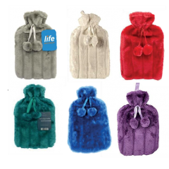 LIFE HOT WATER BOTTLE + FUR COVER WITH POM-POMS