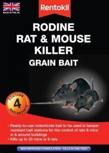 [6] RENTOKIL RODINE RAT & MOUSE KILLER GRAIN BAIT 4 SACHET