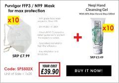 PURVIGOR N99 FACE MASK + NEQI 100ML SANITISER FREE!